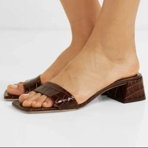 """BY FAR """"Courtney"""" Brown Croc Square Toe Heels"""